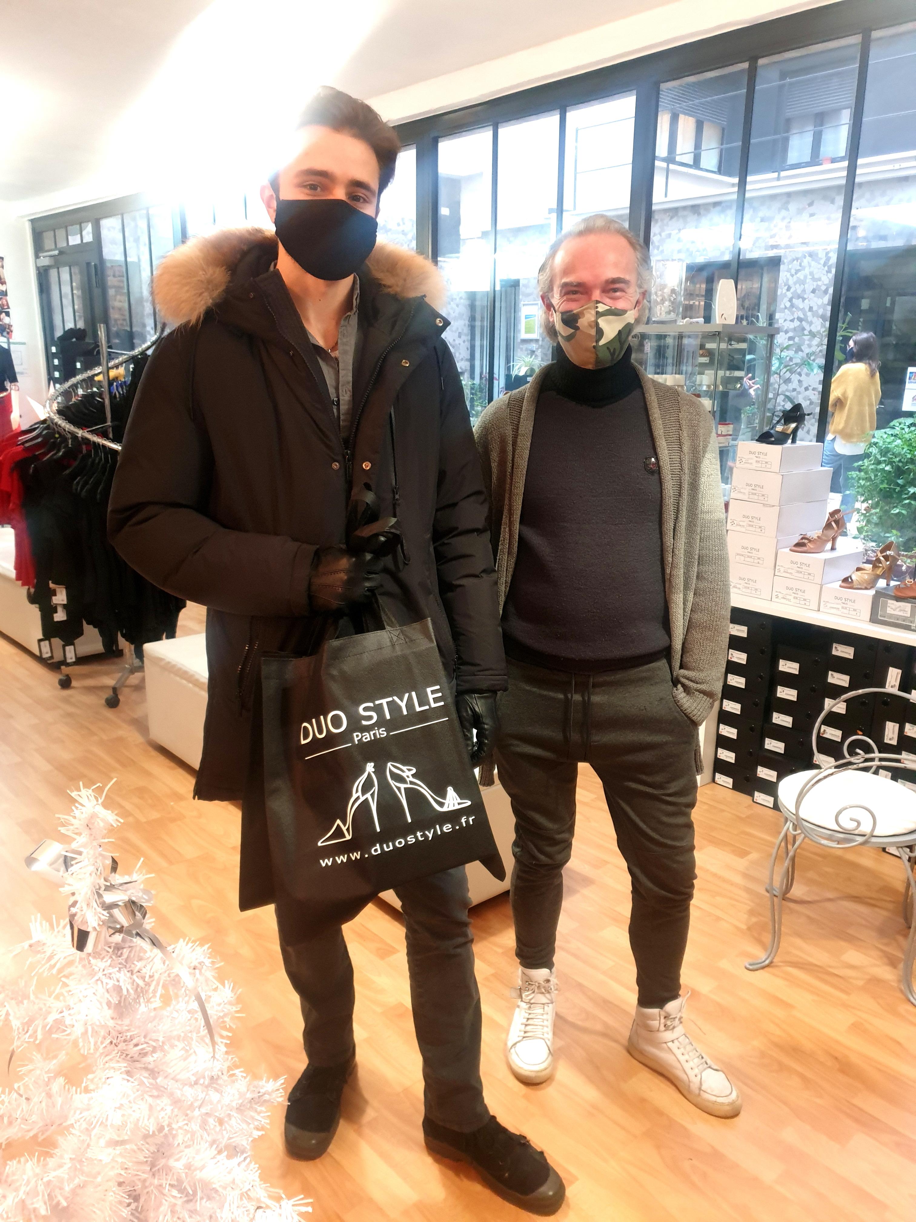 Sam TEXIER et Anastasia PONOMAREVA à DUO STYLE pour leurs chaussures DANCE STAR Shoes