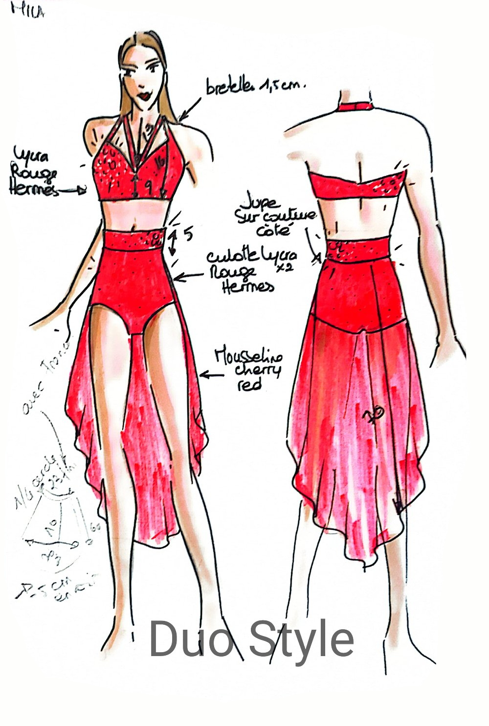 Outfit sketch Mila Nedelec for FRANCE HAS INCREDIBLE TALENT